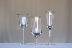 <h5>Gold Rim</h5><p>8 oz Wine Glass, 16 oz Water Goblet,6.5 oz Flute Glass</p>