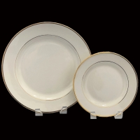 "<h5>Ivory w/ Gold Band China</h5><p>10"" Dinner plate, 7""Salad/Cake plate(12' Charger plate, 9"" Lunch plate, 6"" B&B plate, Soup bowl, Coffee Cup and Saucer, Creamer and Sugar also available)</p>"