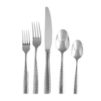 <h5>Lucca Faceted Stainless</h5><p>Salad Fork, Dinner Fork, Dinner Knife, Dessert Spoon, Tea/Coffee Spoon, (Bouillon spoon, Butter knife Also available)</p>