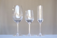 <h5>Riedel </h5><p>21 oz Wine Glass , 13.5 oz Wine Glass ,7.5 Champagne </p>