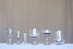 <h5>Libbey Barware </h5><p> 1 oz. Cordial,2 oz Sherry,1 oz Shot Glass, 5.5 oz Tulip Glass, 5.5 Coupe Champagne Glass, Stemless Wine Glass</p>