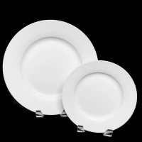 "<h5>Royal White China</h5><p>10"" Dinner plate,  7"" Salad plate, (12"" Charger plate, 9"" Lunch plate, 6"" B&B plate, Coffee Cup and Saucer, Demitasse Cup and Saucer, Creamer and Sugar, Soup bowl Also available)</p>"