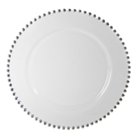 <h5>Silver Beaded Charger Plate</h5>