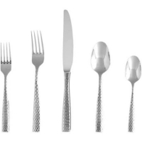 <h5>Lucca Faceted Stainless</h5><p>Salad fork, Dinner fork, Dinner knife, Dessert spoon,Tea/Coffee Spoon, (Bouillon spoon, Butter knife Also available)</p>