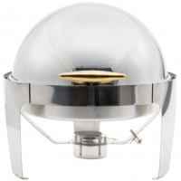 <h5>7.5-Qt.  Round Roll Top Stainless Chafer</h5>