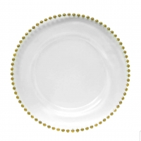<h5>Gold Beaded Clear Glass Charger </h5>