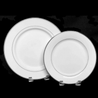 "<h5>White w/ Platinum</h5><p>10"" Dinner plate, 9"" Lunch plate (7""Salad/Cake plate, 6"" B&B plate,  12' Charger plate, Soup bowl, Coffee Cup and Saucer, Creamer and Sugar also available)</p>"