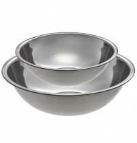 <h5>Mixing Bowls</h5><p>Stainless steel mixing bowls available in 5-qt, 8-qt, and 16-qt.</p>