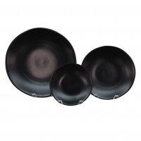 "<h5>Heirloom Matte Black Plates</h5><p>10"" Dinner Plate, 7"" Salad/Dessert , 6"" B&B</p>"