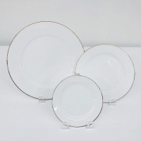 "<h5>White w/Gold Rim Plates</h5><p>10"" Dinner Plate, 7"" Salad/Dessert , 6"" B&B</p>"