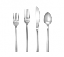 <h5>Brushed Stainless</h5><p>Salad Fork, Dinner Knife,Dinner Fork, Dessert/Soup Spoon, Tea Spoon </p>