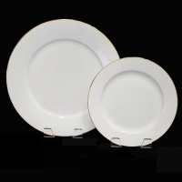 "<h5>White W/ Gold Rim</h5><p>10"" Dinner Plate, 8"" Salad Plate, (6"" B&B Also available)  </p>"